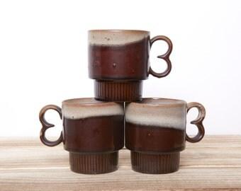 Vintage Mugs - Redware Stacking Mugs - Stoneware Brown Cups Japan - Vinage Mugs - 8 oz
