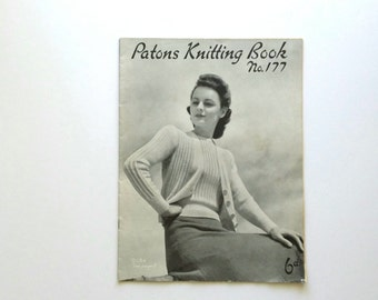 Vintage 1940s, Patons Knitting Book, No. 177,  vintage knitting pattern book for women, jumpers, cardigans, jackets, original pattern