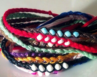 NEW! Handmade! Multi-colored beaded WISH friendship bracelets