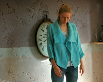 Turquoise linen cardigan with 3/4 sleeves, summer cardigan, jacket