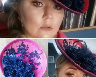 Fuchsia and Navy beautiful millinery hat