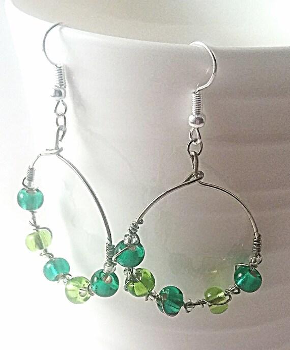 Green hoop earrings, hoops , Easter, earth day earrings, lucky hoops, green hoop earrings, something green, green gift, green theme, mom