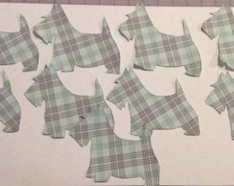 Scottie dog Appliques (9 ) pale green plaid