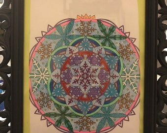 Multicolored snowflake mandala