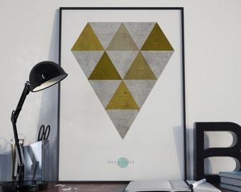 Ochre Diamond-Diamond Wall Art-Diamond Art Decor-Ochre Wall Art-Geometric Wall Art-Geometric Art Prints-Minimalist Decor-Modern Abstract
