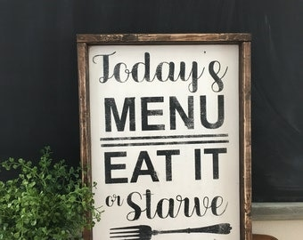 Todays menu sign, wood sign, farmhouse, rustic, sign, kitchen