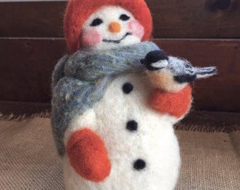 Needle Felted Snowman with Chickadee