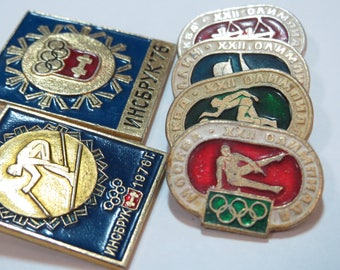 Olympics pin Moscow Innsbruck downhill skiing badge Athletic pin Gift for sportsman Sports birthday invitation card Soviet pin set vintage