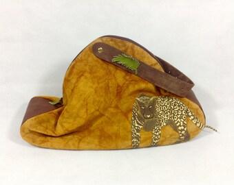 Handmade Genuine Leather Suede Large Shoulder Bag Jaguar