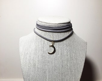 Crescent Moon Suede Wrap Choker