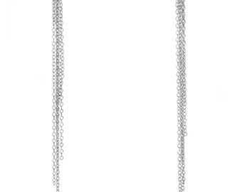 Chain Tassle Earrings with White Sapphires, Handmade, 18K Yellow Gold, 18K Micron Plated, or Sterling Silver