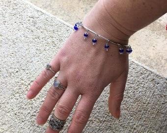 Silver and Cobalt Bangle Bracelet, Boho, Bohemian, Boho Jewelry, Bohemian Jewelry