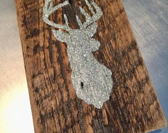 Sign - Deer - Silver - Barn Wood