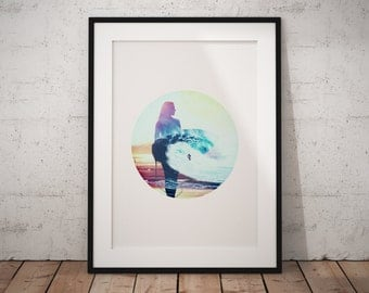 Surfer Girl, Surf Poster, Surfer Girl Print, Coastal Print, Surfer Girl Art, Beach Wall Art, Printable Coastal Art, Abstract Coastal Art