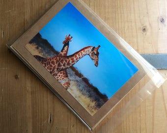 Handmade Card with an Image of Giraffes