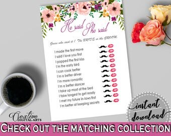 He Said She Said Game in Watercolor Flowers Bridal Shower White And Pink Theme, first move, flowers theme, party planning, prints - 9GOY4