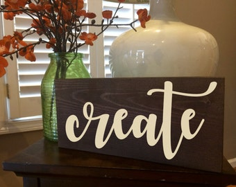 Create sign, craft room, art room sign, wood sign, wall decor, creative decor, home decor, shop