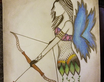 "Indian Archer Fairy Pencil Drawing PRINT, 8"" x 10"""