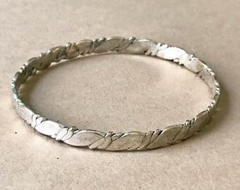 """Vintage Sterling Silver Bangle Bracelet, 7-7/8"""" Inside Diameter"""