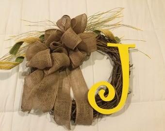 Beautiful custom Initial wreath handmade burlap bow, free ship USA