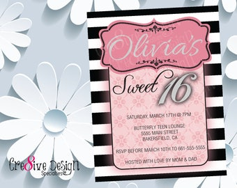 Sweet 16 Custom Printable Birthday Invitation, Sweet 16, Sweet Sixteen, 16th Birthday Girl, Pink Black & White Stripes