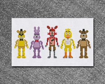 Cross Stitch Pattern Five night at freddy Instant Download PDF Counted Chart
