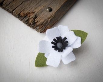 White Felt Flower With Black Center Hair Clip