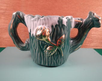 Teal Flower Pot with Real Gold Paint