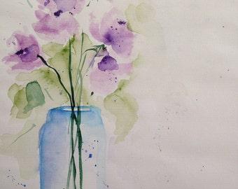 "Watercolor, flowers ""Flowers in the vase"" unique, natural, 30 x 40 cm"