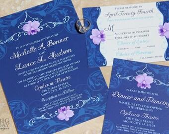 Elegant Orchid Wedding Invitation Suite. Navy blue wedding invitations. Orchid themed wedding invitations