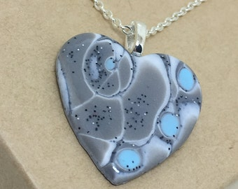 Grey, Blue, Heart Shaped, Mokume Gane, Polymer Clay, Necklace, pendant