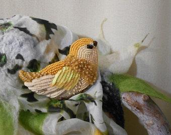 Yellow Bird bead embroidery brooch  yellow bird, handmade brooch, Bead jewelry, Beaded Brooch  - Example Product Only