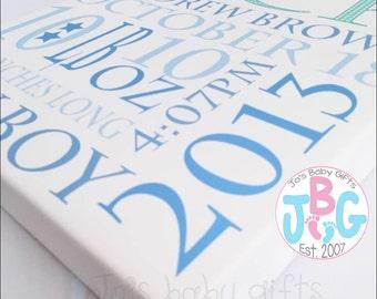 Personalised Boys Canvas Print, Nursery Wall Art, Birth Stats, Custom Print, Canvas Print, New baby gift, Christening, Baby Shower