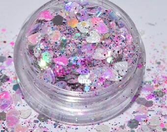 100 g/93,33 EUR - glitter dust bag GlitzerPulver Hexagon heart mix 3 g tinker sparkle iridescent iridescent new