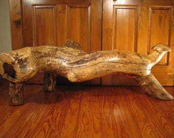 Rustic Live Edge Ash Log Bench With Log Legs, Carved Seats And Carved Mushroom