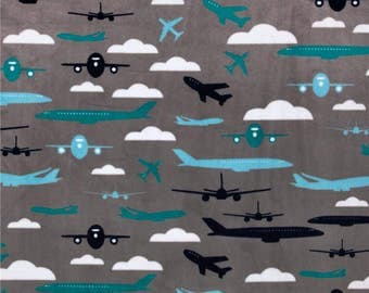 Airplane Fabric/ Airplane Minky/ Aviator Minky / Blue and Gray Minky/ Cuddle Fabric / Shannon Fabric by the Yard
