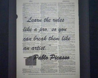 Learn the Rules, Pablo Picasso, Inspirational, Wall Decor, Artists, Writing, Upcycled Art, Vintage, Dictionary Art