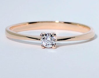 Rose Gold Diamond Ring| Rose Gold Band| Diamond Ring| Engagement Ring| Anniversary Ring| Rose Gold Ring| Wedding ring| Solitaire Ring