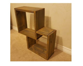 Wooden Floating Interlinked Contemporary Cube Shelves - 38cm Boxes