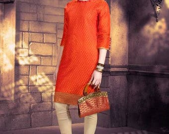 Tango orange Banarasi Chanderi Jacquard fabric stiched xxl kurti free ship