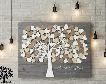 70 x 50 3D wood look vintage wedding gift, guestbook, wedding tree. Memory and decoration, engagement, anniversary,