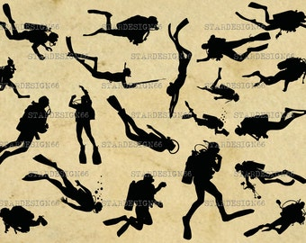 Digital SVG PNG JPG Scuba Diving, divers, sport, vector, clipart, silhouette, instant download