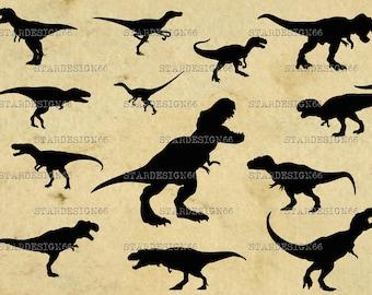 Digital SVG PNG JPG Dinosaurs, raptors, silhouette, vector, clipart, instant download