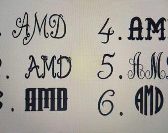 Custom Vinyl Monogram Initials Car Decal Circle Fonts Vine Fonts