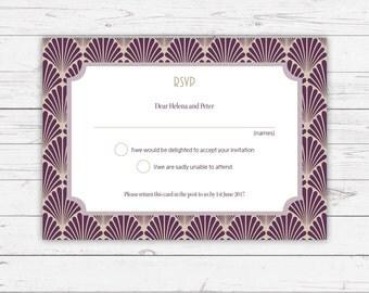 ArtDeco wedding RSVP cards - beautifully designed and printed