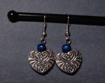 Filigree Heart (Blue Bead)