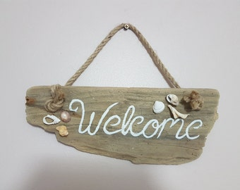 """Driftwood sign """"welcome"""""""