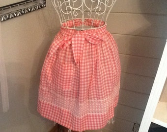 Vintage Pink and white checkered apron