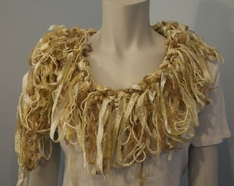 One of a Kind Ivory Gold Loopy Scarf
