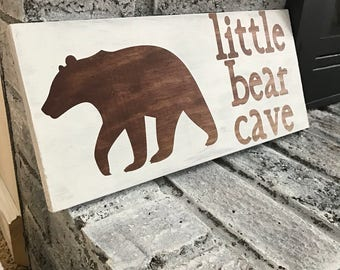 Little Bear Cave Wood Sign